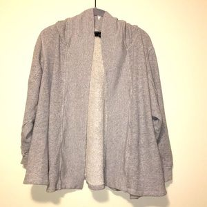 Theory open front hoodie cardigan sweater sz L